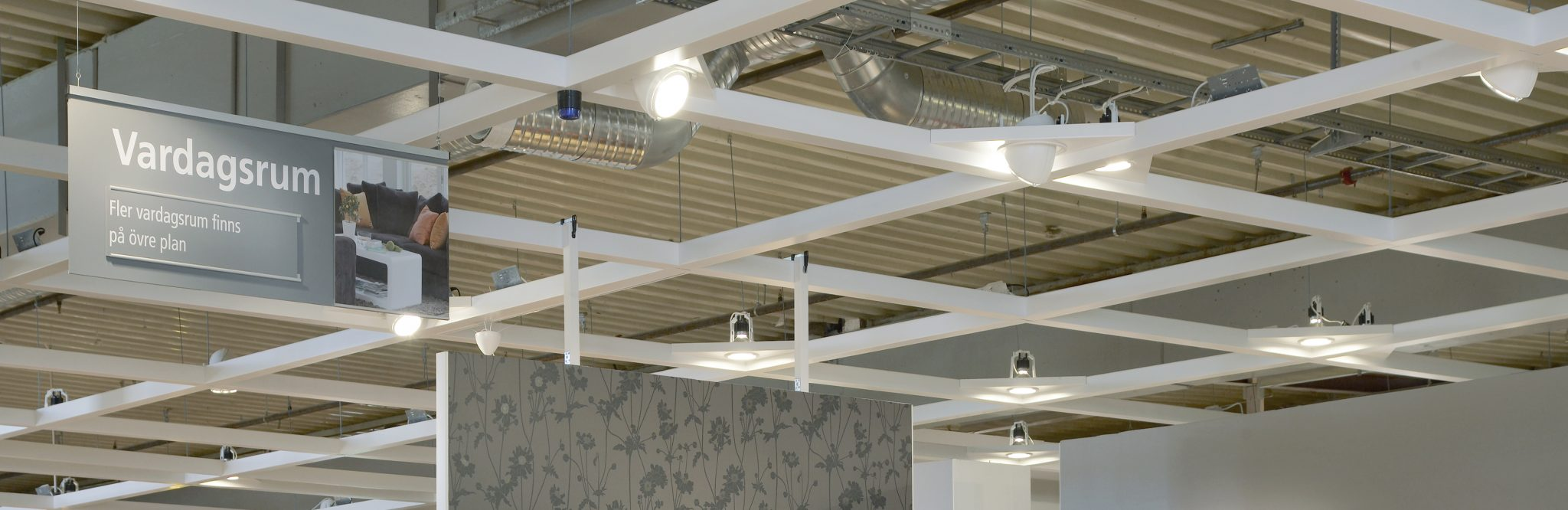 A system ceiling in a standard arrangement.