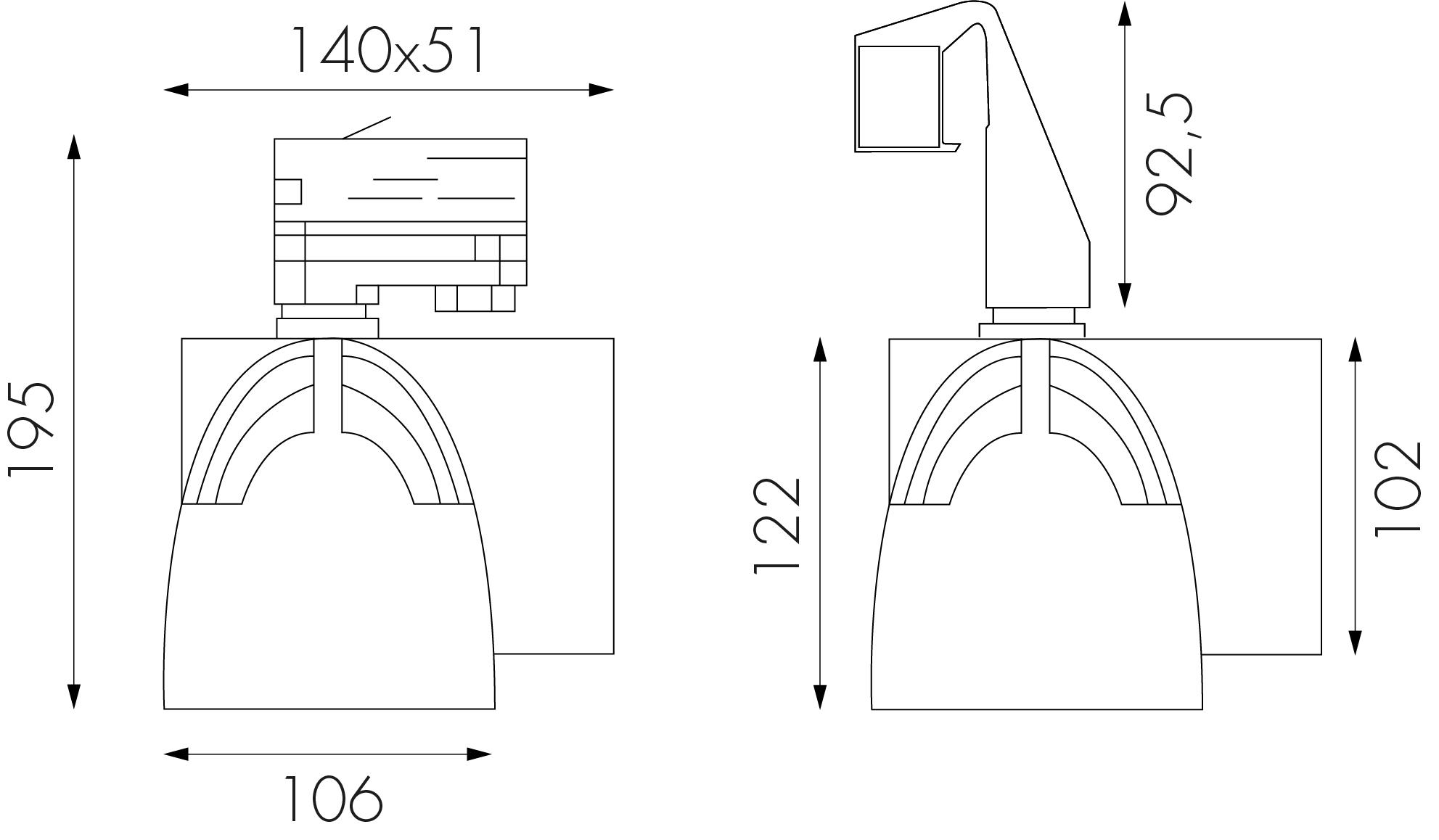 Diagram för spotlight BALANCE, med och utan hook-on (hakas fast i kanten av takkanalerna)
