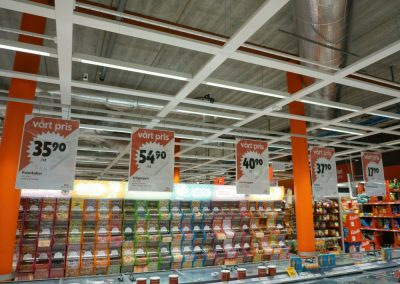 ICA - Grocery store in Sweden. Confectionery department and frozen ready-to-eat meals.