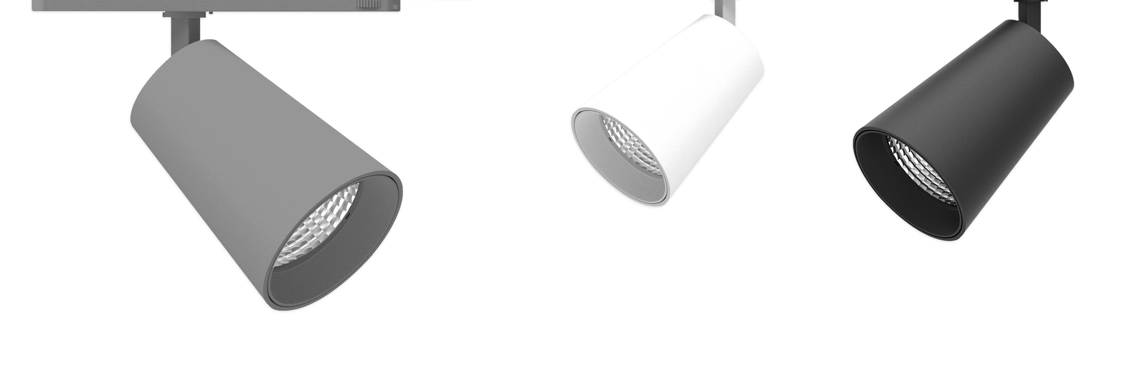 Tego spotlight INTEND, här i svart, för butiker och köpcentra. En av Tego System ABs många lösningar för belysning i dagligvaruhandel.