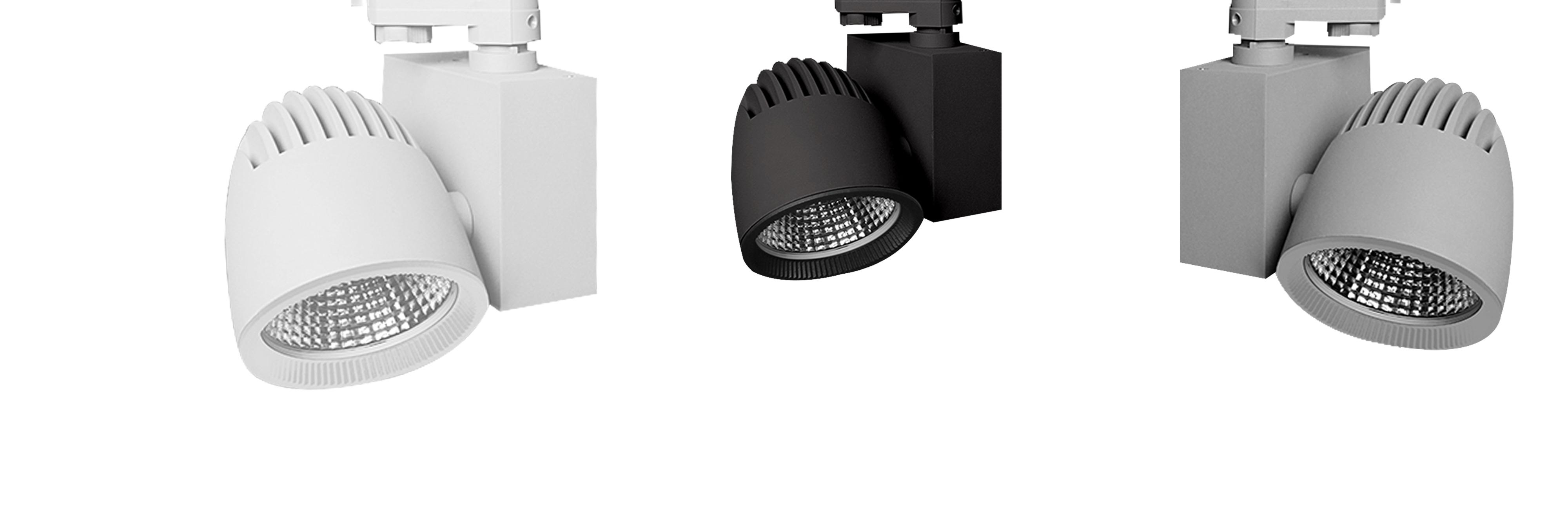 Tego spotlight BALANCE för butiker och stormarknad. Finns i två format - hook-on och för strömskena.